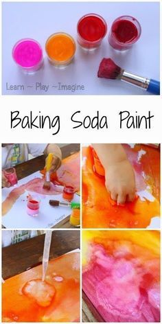 How to make baking soda paint that fizzes, creating beautiful color mixing reactions. How to make baking soda paint that fizzes, creating beautiful color mixing reactions. Kids Crafts, Projects For Kids, Easy Toddler Crafts, Preschool Art Projects, Preschool Art Activities, Toddler Art Projects, Creative Crafts, Process Art Preschool, Quiet Toddler Activities