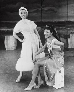 Lena Horne and Josephine Premice in a scene from the 1958 Broadway musical Jamaica. Premice a phenomenal Haitian-American singer, dancer and actress, was nominated for a Tony Award for her role in the show. She was also the mother of Susan Fales-Hill. Jazz, Lena Horne, Vintage Black Glamour, Vintage Men, American Photo, My Black Is Beautiful, Black Girls Rock, African American History, Black People
