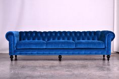 Blue Velvet Chesterfield sofa Modern and Contemporary Sofas and Sofa *Extra Long - modern - Sofas - Los Angeles - Los Angeles Custom Furniture Manufacturing Velvet Sofa Bed, Velvet Chesterfield Sofa, Blue Velvet Sofa, Sofa Couch, Blue Sofas, Purple Velvet, Couches, Chesterfield Furniture, Victorian Sofa