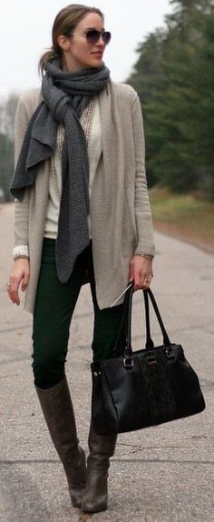 scarf, colored slim pants with boots and straight sweater-- you could do this with your black sweater