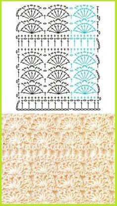 Pretty Fans with Bars crochet stitch chart