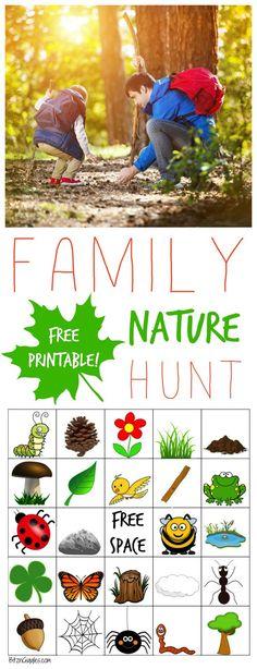 Family Nature Hunt + Free Bingo Printable