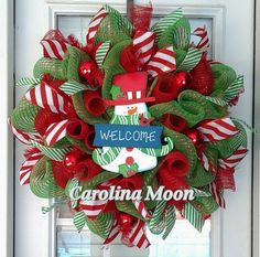 Snowman Welcome Christmas Wreath Green with by CarolinaMoonDecor, $50.00