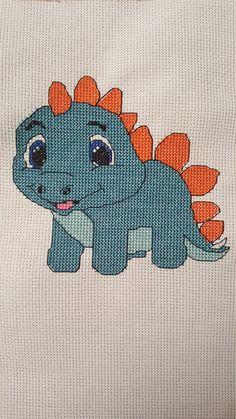 Cute baby dinosaur Stegosaurus cross stitch pattern PDF Simple Cross Stitch, Cross Stitch Charts, Cross Stitch Patterns, Animal Knitting Patterns, Knitting Charts, Plastic Canvas Ornaments, Plastic Canvas Patterns, Knitted Animals, Beaded Animals