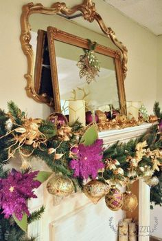 gold and plum mantel decorated for the holidays with handmade decor