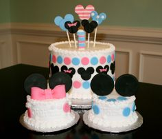 Mickey and Minnie First Birthday Cake