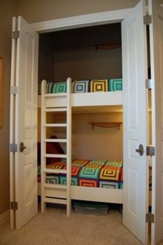 Put bunks in the closet, leaves the rest of the room as a play area!  Going to bed would be so fun... in a CAVE!  This would definitely be cool for kids!   Click image to find more home decor Pinterest pins