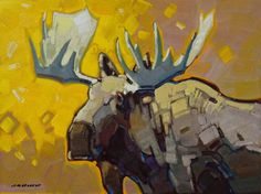 "Cameron Bird SHOWING HIS AGE - BULL MOOSE / Canada House Gallery - oil, board  12"" x 16"""