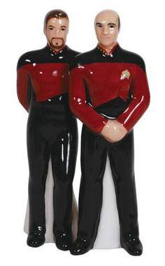 Star Trek The Next Generation Captain Picard and Riker Salt and Pepper Shaker Set