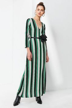 Slide View: 6: UO V-Neck Long Sleeve Maxi Dress
