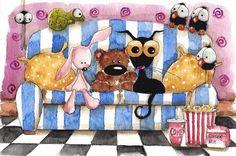 Original watercolor painting whimsical black cat bird crow spider sofa chameleon #IllustrationArt