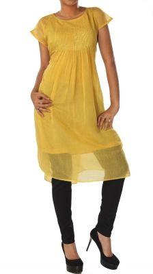Yellow Cotton Silk Sequin Dress   Strandofsilk.com - Indian Designers
