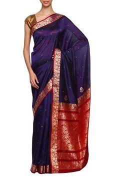 Blue daagina silk peshwai paithani saree