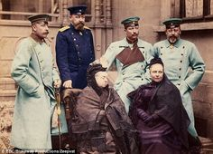 Peacemaker: Queen Victoria, pictured with Kaiser Wilhelm, his mother and Edward VII kept the family united