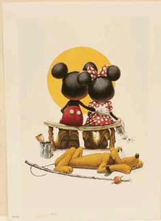 Disney Puppy Love Mickey and Minnie mouse Limited Edition lithograph Print COA Disney Mickey Mouse, Arte Do Mickey Mouse, Mickey Mouse Y Amigos, Retro Disney, Mickey And Minnie Love, Mickey Mouse And Friends, Mickey Mouse Drawings, Disney Magic, Walt Disney