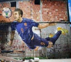 #graffiti in a #favela in #Rio de Janeiro, #Brazil. 'Flying' goal from the Dutch soccer player Robin van #Persie in the match against #Spain at the #FIFA #World #Cup #2014.