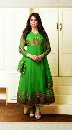 Bipasha Basu Light Green Long Length Anarkali Suit JS989605