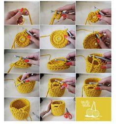 cesto trapillo paso a paso Mini crochet basket- Need to learn how to crochet, how to crochet a basket - could use my T-shirt yarn., how to crochCrochet Fácil - 30 Ideas paso a paso ⋆ Manualidades Y DIYA 'how to' crochet a little basket via Mol Crochet Diy, Crochet Motifs, Crochet Home, Love Crochet, Crochet Crafts, Yarn Crafts, Crochet Stitches, Diy Crafts, Crochet Bags