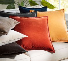 Washed Velvet Pillow Cover   Pottery Barn - these in addition to the ikat????