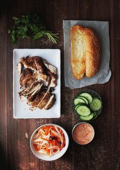Grilled Five-Spice Chicken Banh Mi with Spicy Sriracha Mayo, Cucumbers and Homemade Pickled Daikon and Carrot