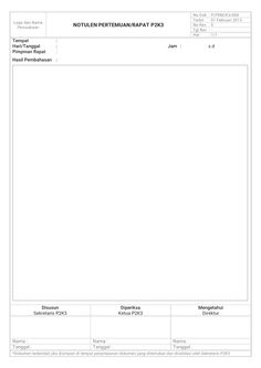 Formulir Notulen Pertemuan/Rapat K3