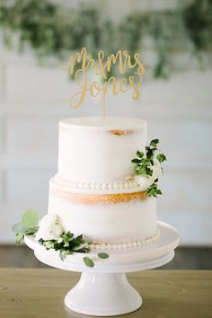 Photo from Mr. and Mrs. Jones collection by Dasha Crawford Photography  Wedding cake, naked cake, cake topper, better off wed cake topper