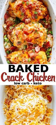 Baked Crack Chicken Breasts, also referred to as Ranch Chicken with Bacon, is a delicious and creamy dish loaded with cheese and bacon. Hard to believe that Crack Chicken is also Low Carb and Keto-Friendly! #crackchicken #ketorecipes #lowcarb #chickendinner