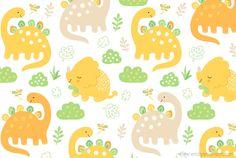 Dinosaur Surface Pattern - Emily Emerson #dinosaurs #prehistoric #surfacepattern #childrensroom #childrensclothes #fabric #childrensbook #illustration #kidlitart #emilyemerson