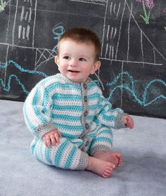 Royal Crochet Onesie Free Pattern from Red Heart Yarns