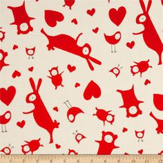 Ric Rac Rabbits Tossed White from @fabricdotcom  Designed by The Red Thread, Marisa and Creative Thursday for Andover Fabrics. This fabric is perfect for quilting, apparel and home decor accents. Colors include red and white with black.