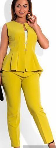 Women Plus Size Suits, Fashion Sleeveless Trouser Suit Size 12-24, Navy, Orange, Blue, Yellow