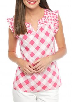 Checker Ruffle Top Pink Outfits, Modest Outfits, Casual Outfits, Dress Neck Designs, Weather Wear, Flutter Sleeve Top, Dressy Tops, Western Dresses, Preppy Style
