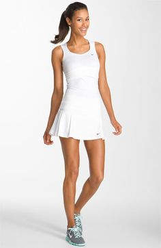 All White Nike Tennis Outfit Tennis Outfits, Tennis Wear, Tennis Skirts, Tennis Clothes, Golf Outfit, Sport Outfits, Pro Tennis, Nike Skirts, Nike Clothes