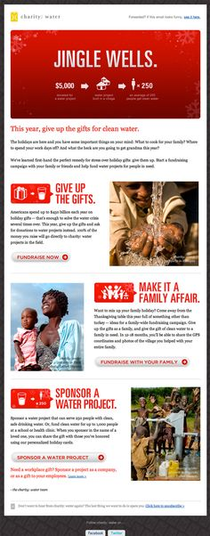 Beautiful Email Newsletters  Charity: Water