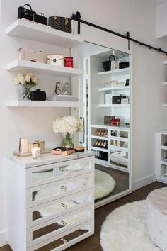 White Closet Bedroom Mirror 21 Ideas For 2019 Walk In Closet Small, Walk In Closet Design, Closet Designs, Master Bedroom Closet, Home Bedroom, Mirror For Bedroom, Bronze Bedroom, Bedroom Furniture, Bedroom Ideas