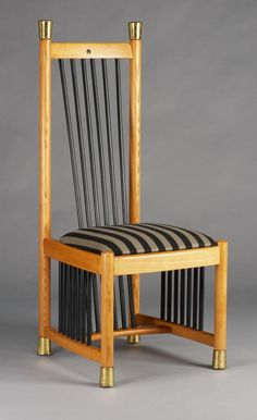 Isis chair, Janos Vásárhelyi (1945-), Manufacturer Pápai Asztalos Kft., 993, Hungary, ashwood; brass, upholstered, polished