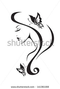 Black And White Silhouette Of The Girl Stock Vector Illustration 141361168 : Shutterstock