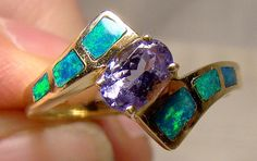 14K Opals and Tanzanite Ring Size 6-1/4 6.25 14 K Pathway of