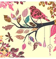 Retro background of tree branch with leaves and vector on VectorStock®