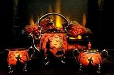 VINTAGE SILVER PLATE SHERIDAN HALLOWEEN WITCH* BLACK CATS TEA SET HP by Peggy G