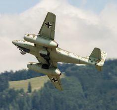 A Messerschmitt Me-262 banks on take off.