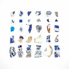 Blue & White Beach China by Jennifer Steen Booher QuercusDesign @ etsy.com