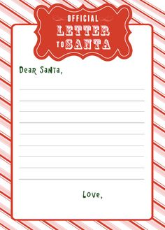 FREE Printable Letter to Santa  Letter to the North Pole