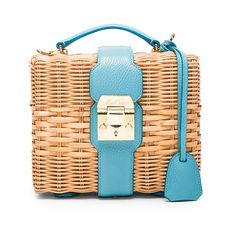 Mark Cross Harley Rattan Bag ($2,090) ❤ liked on Polyvore featuring bags, handbags, fold over handbag, fold-over handbags, handbag purse, woven bag and foldable bag