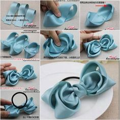 Comment faire un bricolage Satin Ribbon Bow Hair Accessory [post_tags Ribbon Headbands, Ribbon Hair Bows, Diy Hair Bows, Diy Ribbon, Ribbon Crafts, Ribbon Flower, Punch Needle Set, Hair Scarf Styles, Bow Tutorial