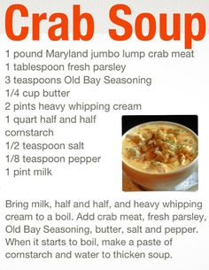 Maryland Crab Soup My husband's College days.at University of Maryland, College Park Fish Dishes, Seafood Dishes, Seafood Recipes, Seafood Salad, Chowder Recipes, Soup Recipes, Cooking Recipes, Crab Cake Recipes, Lump Crab Meat Recipes