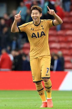 Tottenham Hotspur's South Korean striker Son Heung-Min celebrates following the English Premier League football match between Middlesbrough and Tottenham Hotspur at Riverside Stadium in Middlesbrough, northeast England on September 24, 2016. / AFP / Lindsey PARNABY / RESTRICTED TO EDITORIAL USE. No use with unauthorized audio, video, data, fixture lists, club/league logos or 'live' services. Online in-match use limited to 75 images, no video emulation. No use in betting, games or single…