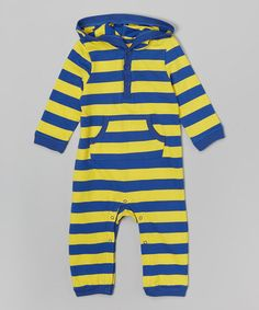 Another great find on #zulily! Blue & Yellow Stripe Hoodie Romper - Infant #zulilyfinds