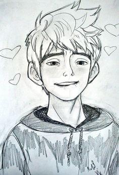 desenho do jack frost Art Drawings Sketches Simple, Anime Drawings Sketches, Pencil Art Drawings, Anime Sketch, Sketch Art, Cartoon Drawings, Cartoon Art, Cute Drawings, Easy Disney Drawings
