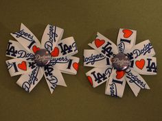 Girls Los Angeles Dodgers Baseball Pigtail by MommysBowCreations, $6.50